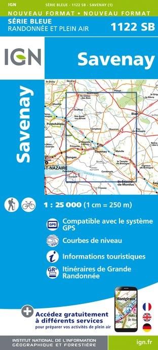 Topografische kaart - Wandelkaart 1122SB Savenay | IGN