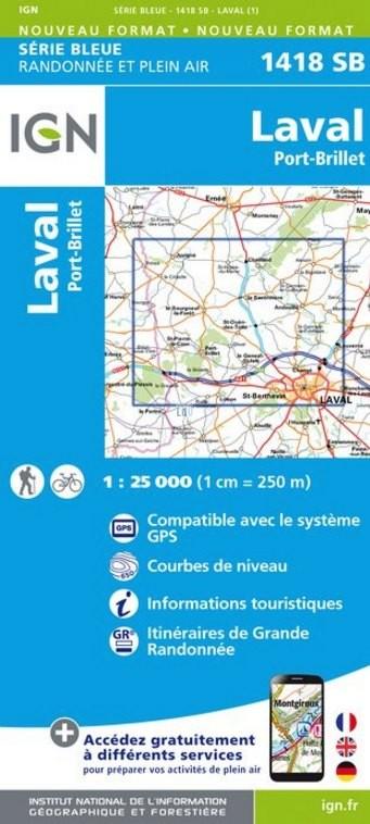 Wandelkaart - Topografische kaart 1418SB Laval - Port-Brillet | IGN
