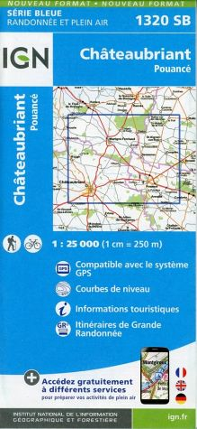 Wandelkaart - Topografische kaart 1320SB Châteaubriant - Pouancé | IGN