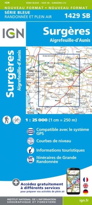 Wandelkaart - Topografische kaart 1429SB Surgères, Aigrefeuille-d'Aunis | IGN