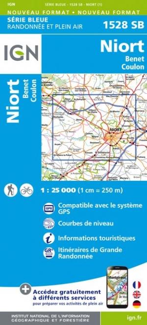 Wandelkaart - Topografische kaart 1528SB Niort - Benet - Coulon | IGN