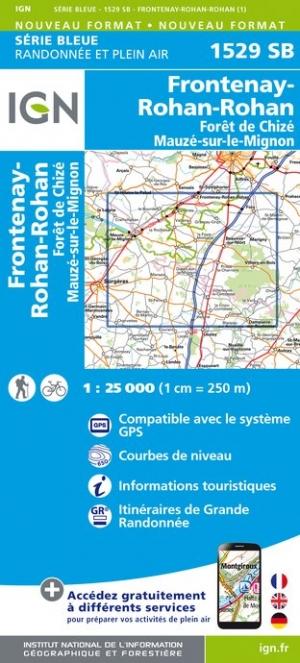 Wandelkaart - Topografische kaart 1529SB Mauzé-sur-le-Mignon, Frontenay-Rohan, Foret de Chize | IGN
