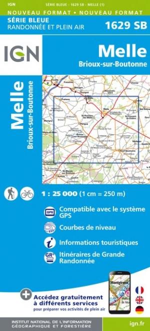 Wandelkaart - Topografische kaart 1629SB Brioux-sur-Boutonne, Melle | IGN