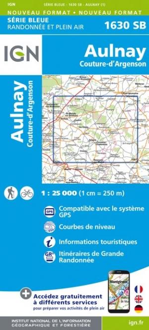 Wandelkaart - Topografische kaart 1630SB Aulnay, Couture-d'Argenson | IGN