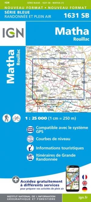 Wandelkaart - Topografische kaart 1631SB Rouillac - Matha | IGN