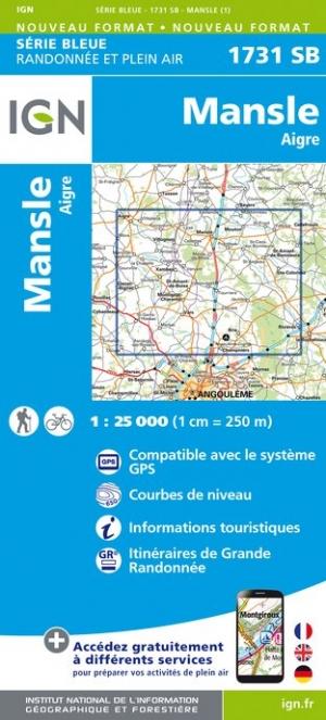 Wandelkaart - Topografische kaart 1731SB Mansle - Aigre | IGN