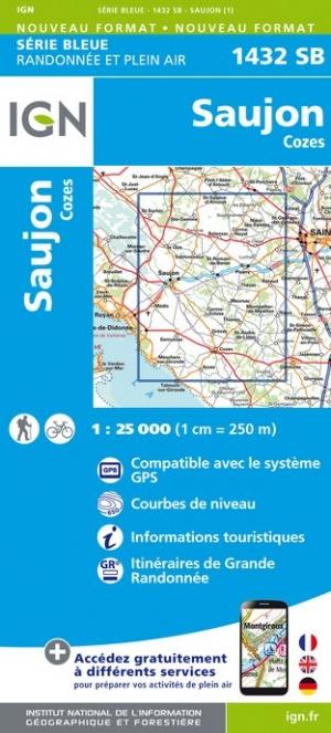Wandelkaart - Topografische kaart 1432SB Saujon - Cozes | IGN
