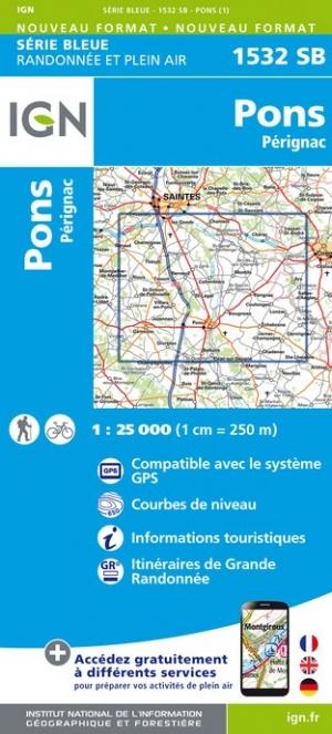 Wandelkaart - Topografische kaart 1532SB Pons - Pérignac | IGN