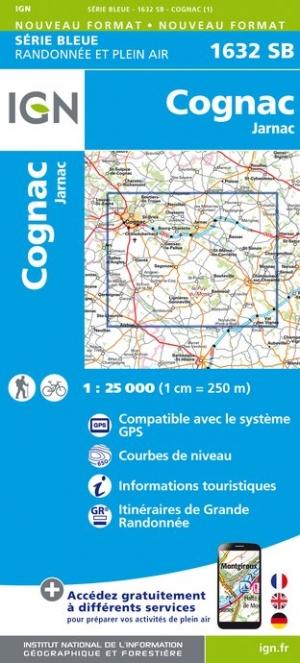 Wandelkaart - Topografische kaart 1632SB Jarnac - Cognac | IGN