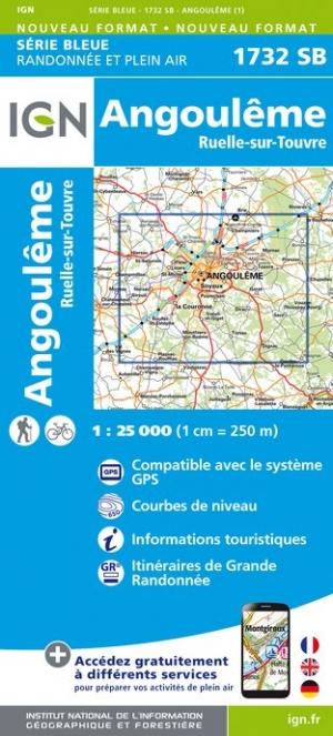 Wandelkaart - Topografische kaart 1732SB Angoulême, Ruelle-sur-Touvre | IGN