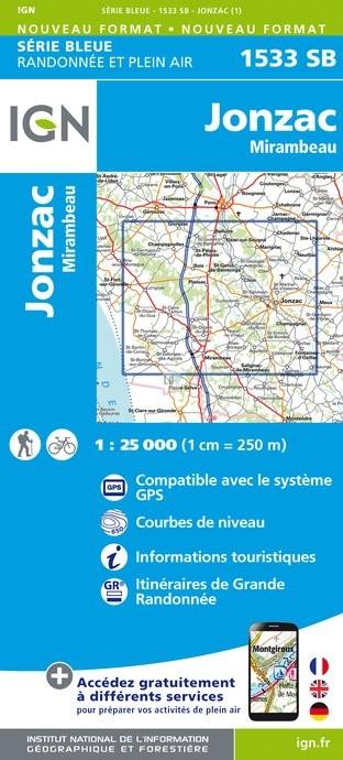 Topografische kaart - Wandelkaart 1533SB Jonzac - Mirambeau | IGN