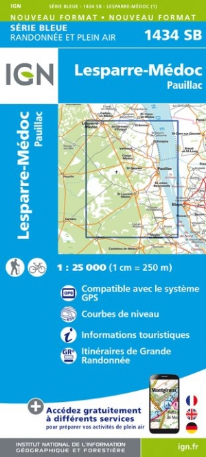 Wandelkaart - Topografische kaart 1434SB Lesparre-Médoc, Pauillac | IGN