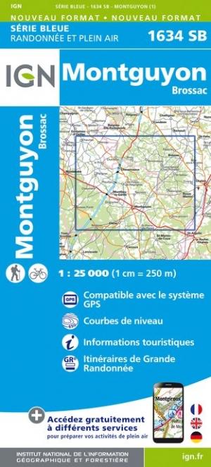 Wandelkaart - Topografische kaart 1634SB Brossac - Montguyon | IGN