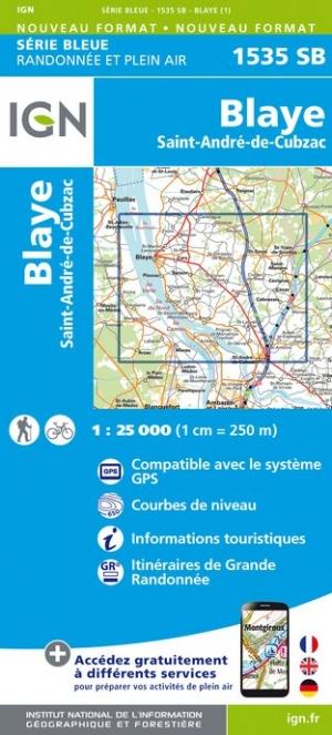 Wandelkaart - Topografische kaart 1535SB Blaye, St-André-de-Cubzac | IGN