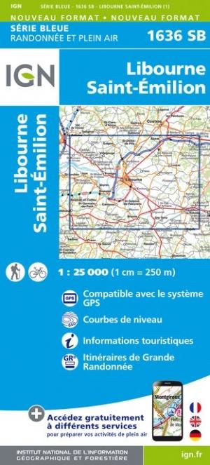 Wandelkaart - Topografische kaart 1636SB Libourne, Saint-Emilion | IGN
