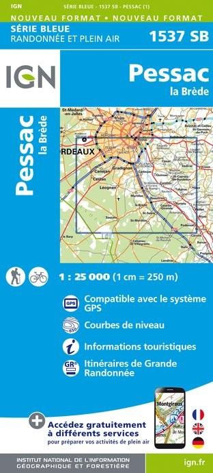 Topografische kaart - Wandelkaart 1537SB Pessac - La Brède | IGN