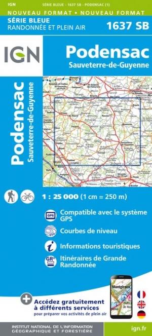 Wandelkaart - Topografische kaart 1637SB Sauveterre-de-Guyenne, Podensac | IGN