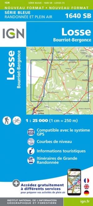 Wandelkaart - Topografische kaart 1640SB Losse, Bourriot-Bergonce | IGN
