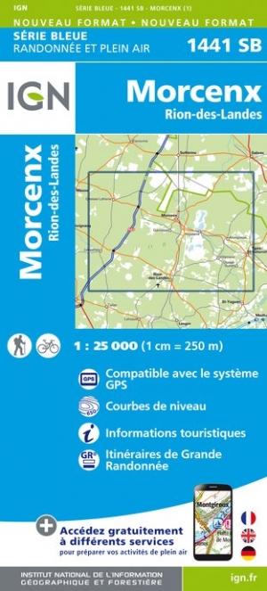 Wandelkaart - Topografische kaart 1441SB Morcenx, Rion-des-Landes | IGN