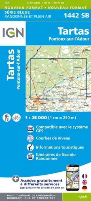 Wandelkaart - Topografische kaart 1442SB Tartas, Pontonx-sur-l'Adour | IGN