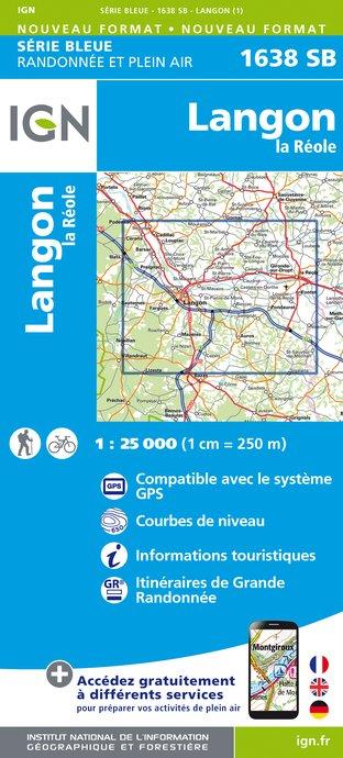 Topografische kaart - Wandelkaart 1638SB La Réole - Langon | IGN
