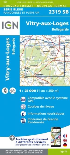 Wandelkaart - Topografische kaart 2319SB Vitry-aux-Loges, Bellegarde | IGN