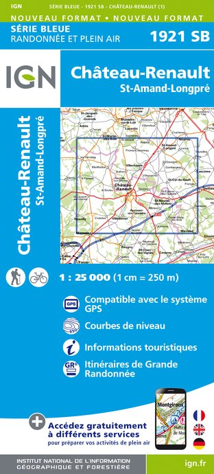 Wandelkaart - Topografische kaart 1921SB Château-Renault, St-Amand-Longpré | IGN