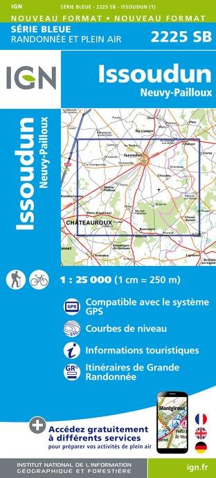 Wandelkaart - Topografische kaart 2225SB Issoudun, Neuvy-Paillouxt | IGN