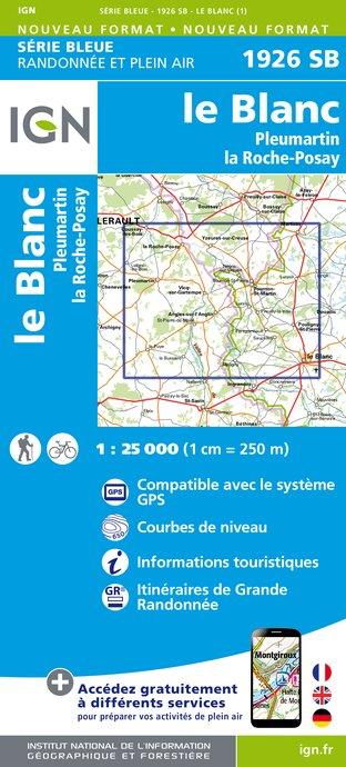 Wandelkaart - Topografische kaart 1926SB Le Blanc, Pleumartin, La Roche-Posay | IGN