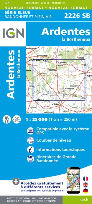 Wandelkaart - Topografische kaart 2226SB Ardentes - La Berthenoux | IGN