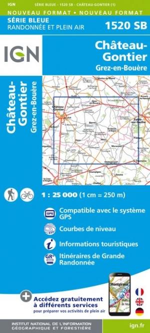 Wandelkaart - Topografische kaart 1520SB Château-Gontier, Grez-en-Bouère | IGN