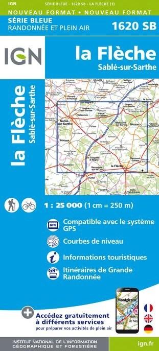 Topografische kaart - Wandelkaart 1620SB La Flèche, Sablé-sur-Sarthe | IGN