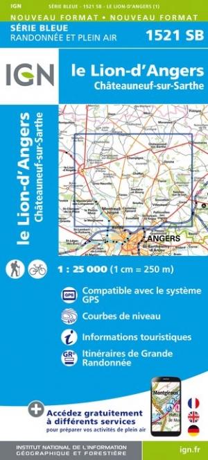 Wandelkaart - Topografische kaart 1521SB Le Lion-d'Angers, Châteauneuf-sur-Sarthe | IGN