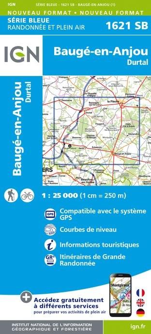Topografische kaart - Wandelkaart 1621SB Baugé-en-Anjou, Durtal | IGN