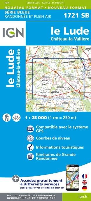 Topografische kaart - Wandelkaart 1721SB Le Lude, Château-la-Vallière | IGN