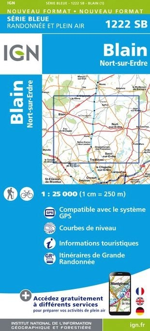 Wandelkaart - Topografische kaart 1222SB Blain - Nort-sur-Erdre | IGN