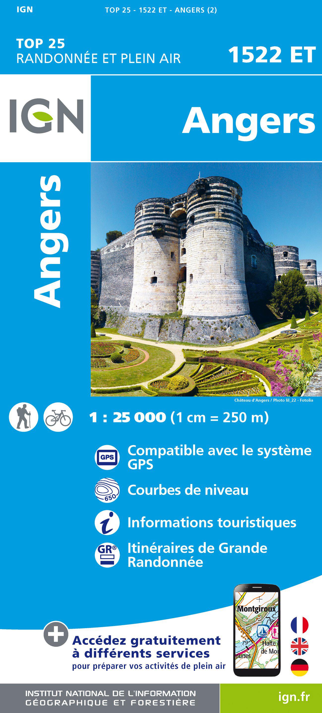 Wandelkaart - Topografische kaart 1522ET Angers | IGN