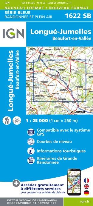 Topografische kaart - Wandelkaart 1622SB Longué-Jumelles, Beaufort-en-Vallée | IGN