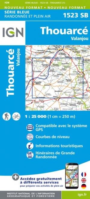 Wandelkaart - Topografische kaart 1523SB Thouarcé, Valanjou | IGN