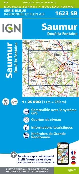 Topografische kaart - Wandelkaart 1623SB Saumur, Doué-la-Fontaine | IGN