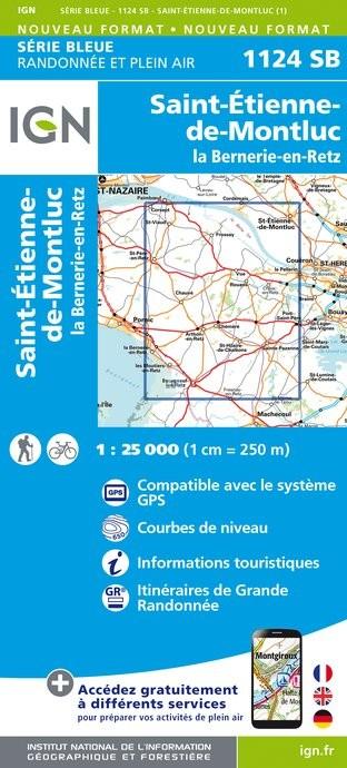 Topografische kaart - Wandelkaart 1124SB Saint-Etienne-de-Montluc, La Bernerie-en-Retz | IGN