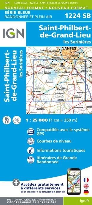 Topografische kaart - Wandelkaart 1224SB St-Philbert-de-Grand-Lieu, Les Sorinières | IGN