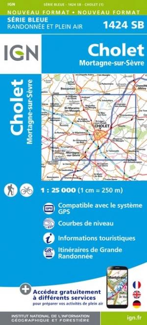 Wandelkaart - Topografische kaart 1424SB Cholet, Mortagne-sur-Sèvre | IGN