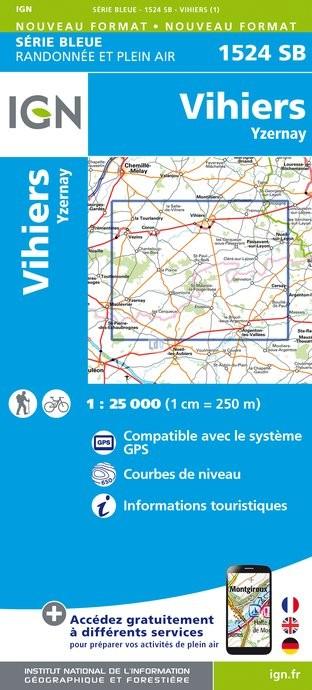 Topografische kaart - Wandelkaart 1524SB Vihiers - Yzernay | IGN