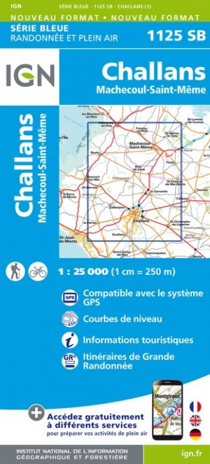 Wandelkaart - Topografische kaart 1125SB Challans, Machecoul-Saint-Même | IGN