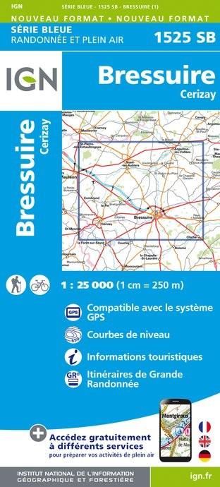 Topografische kaart - Wandelkaart 1525SB Bressuire - Cerizay | IGN