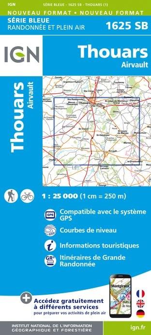Topografische kaart - Wandelkaart 1625SB Thouars, Airvault | IGN