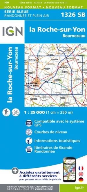 Wandelkaart - Topografische kaart 1326SB La Roche-sur-Yon, Bournezeau | IGN