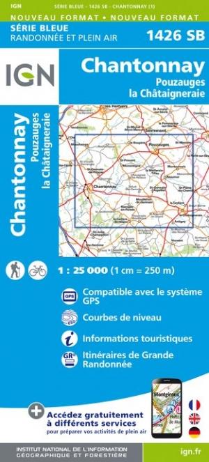 Wandelkaart - Topografische kaart 1426SB Pouzauges, La Châtaigneraie, Chantonnay | IGN