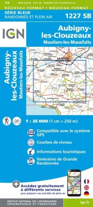 Wandelkaart - Topografische kaart 1227SB Aubigny-les-Clouzeaux, Moutiers-les-Mauxfaits | IGN